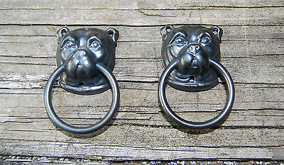 ANTIQUE NOS STAMPED BRASS BULL DOG CABINET PULLS COUNTRY DOGS RESTORATION set2