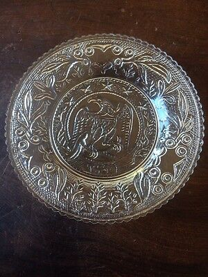 Antique Crystal Ornate Scalloped Edge Cup Plate American Eagle 1861