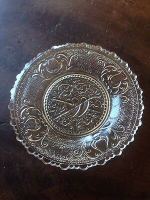 Antique OrNate Crystal Scalloped Edge Cup Plate Hearts And Arrows