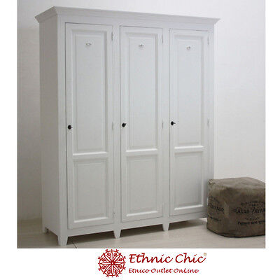 Armadio Provenzale Legno Bianco Shabby Chic Vintage Francese Mobili