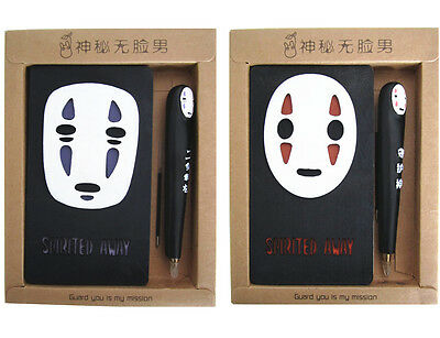 Spirited Away NoFace Notebook Anime Studio Ghibli Notepad Diary Journal Pen Gift