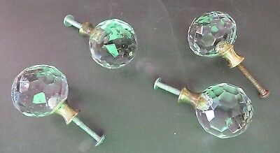 Vntg Round Crystal Glass Cabinet,Door,Drawer Handle Pull Knobs Selling SETS OF 4