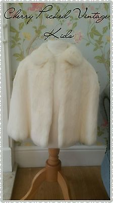 Vintage Girl's Winter White Real Soft Coney Fur Cape Jacket Coat Age 6 7 8 Small