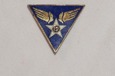 12th Air Force Patch Type Crest DI DUI Maker Marked WWII AAF M0061