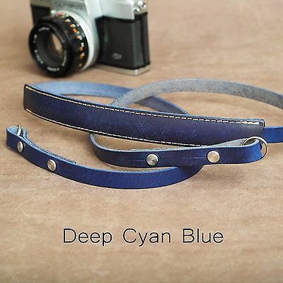 "The 1901 ""Steichen"" Leather Camera Strap - 115cm - Deep Cyan Blue"