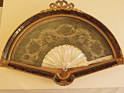 Antique French Fan-Mother of Pearl-Belgium Black Lace-in Shadow Box-Wall Hanging