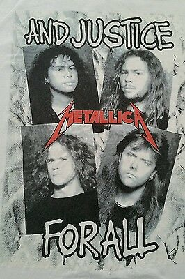 Vintage Original Metallica white 'Faces ....And Justice For All' tshirt 80s Rare
