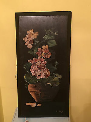 Vintage Antique Floral Painting on Wood Shabby Cottage Chic Signed