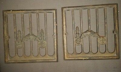 2 Antique Cast Iron Heat Register?  Grate Vent  Heater Covers ?