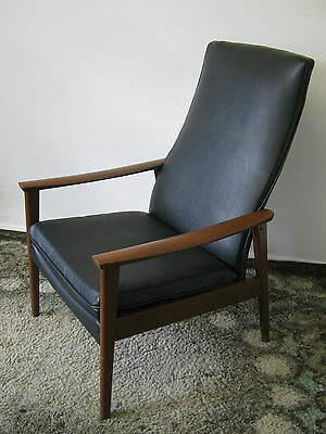 Retro Armchair by Parker Knoll, Danish style Lounge chair, black vinyl Northants