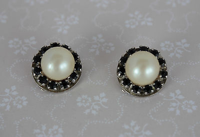 40s Glass Pearl Black Crystal Clip On Earrings - Round Cluster Rhinestone Faux