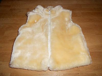 Girls, Ladybird, Cream, Faux Fur, Zipped, Pocketed, Gilet. Age 5-6 Years