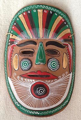 Vintage Hand-Painted Mexican Folk Art Terra Cotta Clay Pottery Mask Wall Hanging