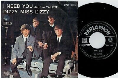 THE BEATLES I need you Dizzy miss Lizzy 45rpm 7' + PS 1965 ITALY MINT-