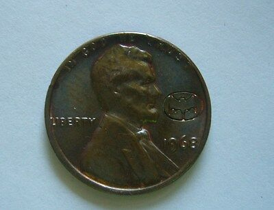 USA 1 Cent 1968, Batman Mark, Countermarked - Counterstamped