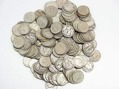 200-Coin Lot Of Mixed Mercury And Roosevelt Silver Dimes $20 Face Value