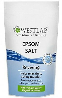 Westlab Epsom Salt Resealable Stand Up Pouch 1Kg Muscle Relaxation Sports
