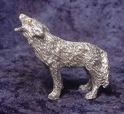 Pewter Howling WOLF Standing with Golden Crystal Eyes