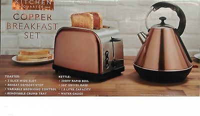 New Kitchen Quarter Copper Kettle And 2 Slice Toaster set.