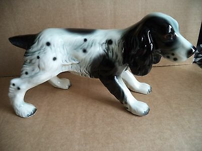 """Beswick ? No makers stamp spaniel,black and white 7"""" tall"""