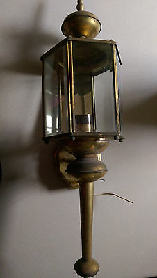Vintage Brass Porch Sconce/ Wall Light~Mid-Century Lantern~Large Glass Panels