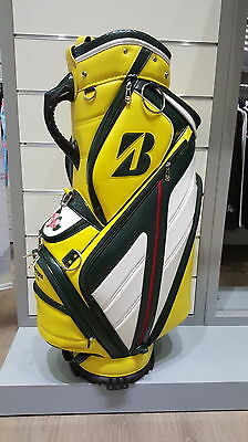 ''NEW'' Bridgestone Master's Ltd Golf Cart Bag Yellow/Green 5 Way Top 8 Pockets