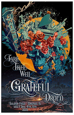 Grateful Dead Chicago Print Poster GD 50 Fare Thee Well Signed & Numbered #/1000