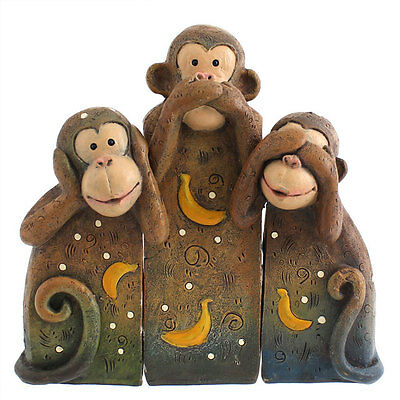 Hear No, Speak No, See No Evil Monkey - Set of 3 Wise Monkeys Ornament NEW