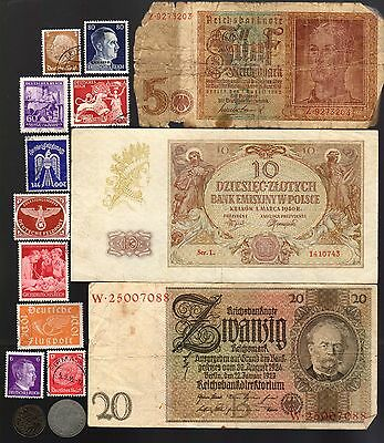Nazi Banknote, Coin And Stamp Set  # 52