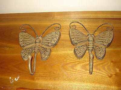 2- Cast Iron Butterfly Coat/Hat Hooks