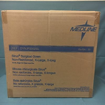 Medline DYNJP2002SL Sterile Non-Reinforced Sirus Surgical Gowns XL Box of 20*