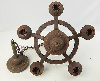 Art Deco Era Rustic Cast Iron 5 Down Lights Chandelier Haunted House SOLID BONES • CAD $147.41