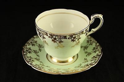 Vtg Double Warrant Paragon Fine Bone China Mint Green & Gold Tea-Cup & Saucer