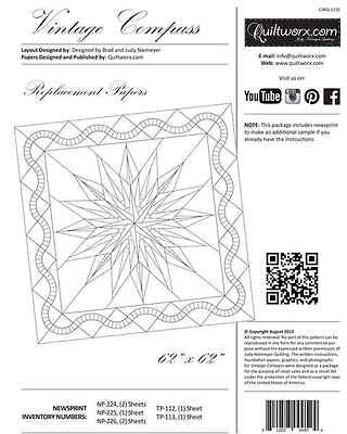 VINTAGE COMPASS EXTRA FOUNDATION PAPER, From Quiltworx By Judy Niemeyer NEW