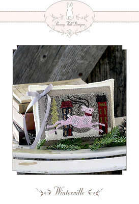 WINTERVILLE REINDEER PUNCHNEEDLE PATTERN, From Bunny Hill Designs NEW