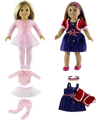2 Set Hot Handmade Clothes Dress Fits for 18 Inch American Girl Dolls