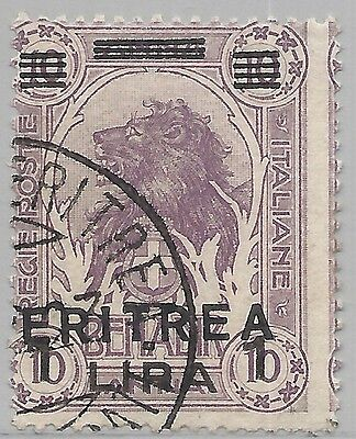 ERITREA  SCOTT 64 USED FINE - 1922 1l on 10a LILAC ISSUE -  CAT $24.00
