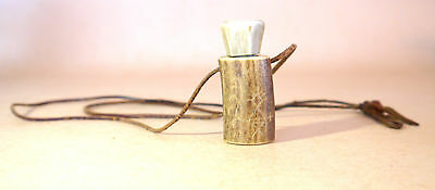 Stunning Vintage Cattle Bone Snuff Bottle ?  Collectible Pendant Necklace
