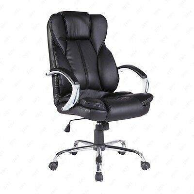 Black PU Leather High Back Executive Swivel Office Chair Computer Desk