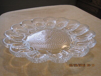 Vintage Clear Hobnail Thousand Eyes Indiana Glass Relish/Deviled Egg Plate~