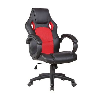 Executive Race Car Style Office Chair Swivel High Back Bucket Seat Red