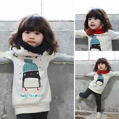 Toddler Kid Baby Girls Winter Warm Hoodies Child Pullover Tops Outwear 0-3Y