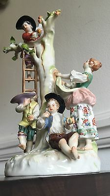 Antique 19th Cent German Meissen Figurine Apple Pickers Family Group Porcelain