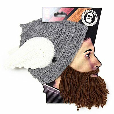 bb9d973170c Thor Helmet Brown Thermal Knit Beard Ski Face Mask With Wings Winter Beanie  Hat