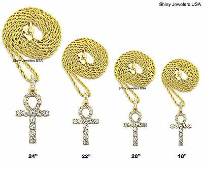 """Egyptian Ankh Cross (Key Of Life) Pendant Rope Chain 18"""",20"""",22',24"""",30""""Necklace"""