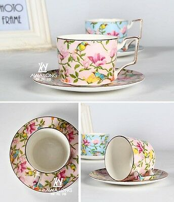 English Tea Set/ Cup And Saucer/ Birds In Pink/ Extraordinary Detailed Colourful