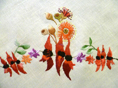 Hand Embroidered Wildflowers of Australia ~ Red Sturt's Desert Pea+ ~Tablecloth