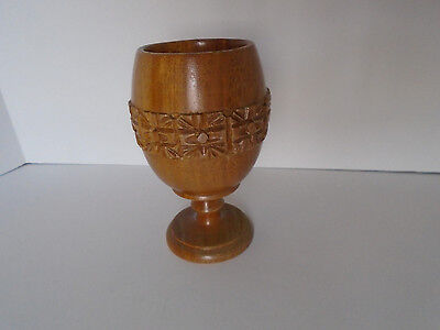 Beautiful hand carved wood chalice goblet