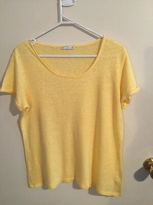 Pre-loved Ladies size 12-14 Lovely Yellow Linen Summer Top