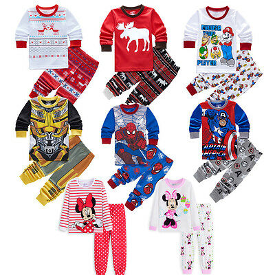Spiderman Cartoon 2Pcs Kids Baby Boys Girls  Pyjamas Pjs Nightwear Sleepwear Set